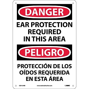 Danger, Ear Protection Required In This Area Bilingual, 14X10, Rigid Plastic