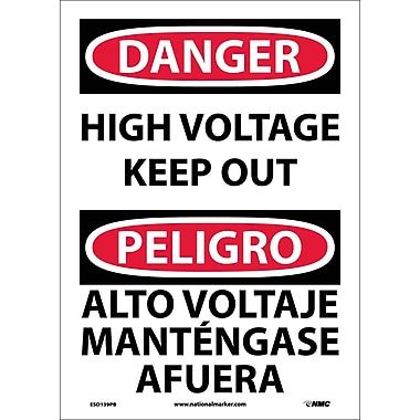 Danger, High Voltage Keep Out Bilingual, 14X10, Adhesive Vinyl