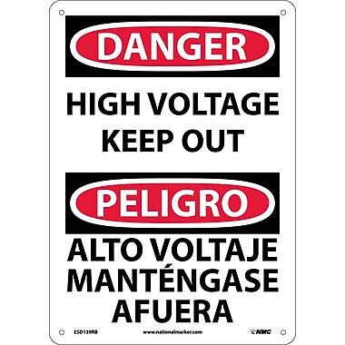 Danger, High Voltage Keep Out Bilingual, 14X10, Rigid Plastic