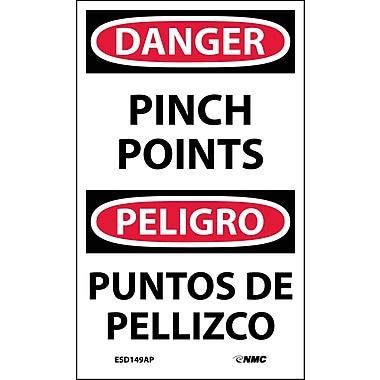 Labels - Danger, Pinch Point Bilingual, 5X3, Adhesive Vinyl, 5/Pk