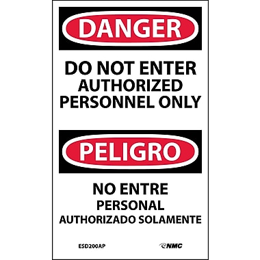 Labels - Danger, Do Not Enter Authorized Personnel Only, Bilingual, 5X3, Adhesive Vinyl, 5/Pk