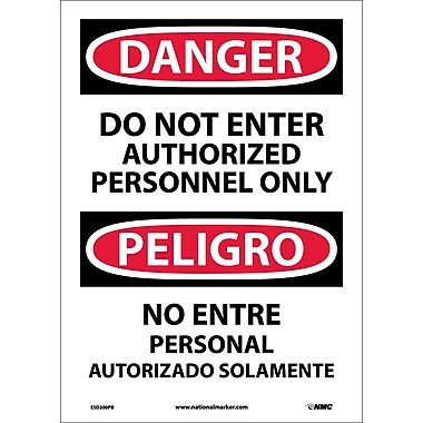 Danger, Do Not Enter Authorized Personnel Only (Bilingual), 14X10, Adhesive Vinyl