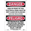 Danger, Area In Front Of This Electrical Panel. . . (Bilingual), 14X10, Rigid Plastic