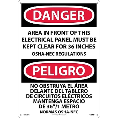 Danger, Area In Front Of This Electrical Panel. . . (Bilingual), 20X14, Rigid Plastic