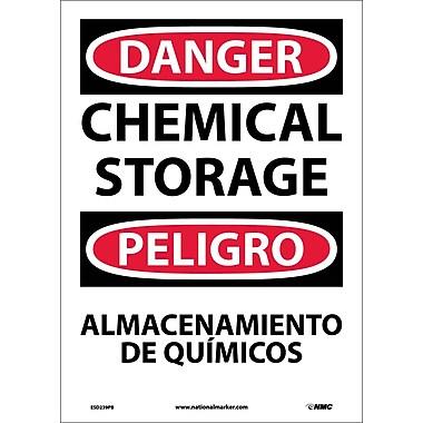 Danger, Chemical Storage Bilingual, 14X10, Adhesive Vinyl