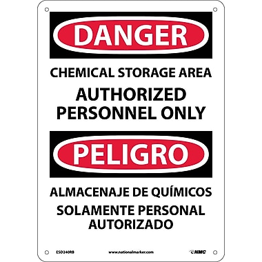 Danger, Chemical Storage Area Authorized Personnel Only (Bilingual), 14X10, Rigid Plastic