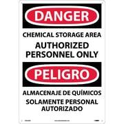Danger, Chemical Storage Area Authorized Personnel Only (Bilingual), 20X14, Rigid Plastic