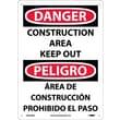 Danger, Construction Area Keep Out (Bilingual), 14X10, Rigid Plastic