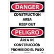 Danger, Construction Area Keep Out (Bilingual), 20X14, Rigid Plastic
