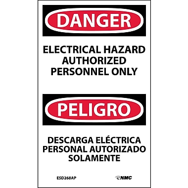 Labels - Danger, Electrical Hazard Authorized Personnel Only Bilingual, 5X3, Adhesive Vinyl, 5/Pk