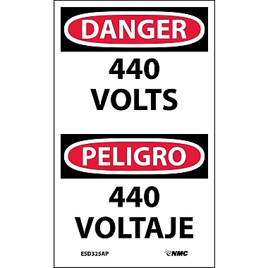 Labels - Danger, 440 Volts Bilingual, 5X3, Adhesive Vinyl, 5/Pk