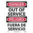 Danger, Out Of Service Bilingual, 14X10, Adhesive Vinyl