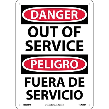 Danger, Out Of Service Bilingual, 14X10, Rigid Plastic
