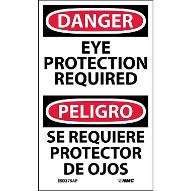 Labels - Danger, Eye Protection Required Bilingual, 5X3, Adhesive Vinyl, 5/Pk
