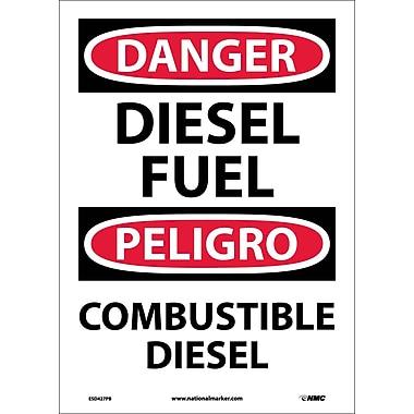Danger, Diesel Fuel Bilingual, 14X10, Adhesive Vinyl