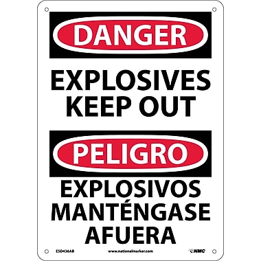 Danger, Explosives Keep Out Bilingual, 14X10, .040 Aluminum