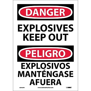 Danger, Explosives Keep Out Bilingual, 14X10, Adhesive Vinyl