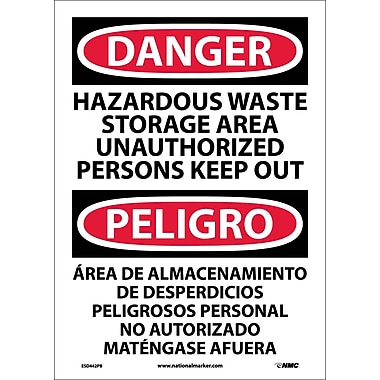 Danger, Hazardous Waste Storage Area Keep Out Bilingual, 14X10, Adhesive Vinyl