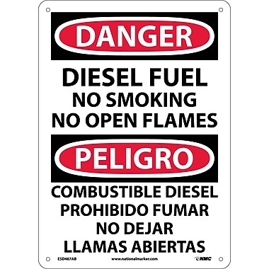 Danger, Diesel Fuel No Smoking No Open Flames, Bilingual, 14X10, .040 Aluminum