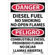 Danger, Diesel Fuel No Smoking No Open Flames, Bilingual, 14X10, Adhesive Vinyl