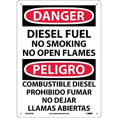 Danger, Diesel Fuel No Smoking No Open Flames, Bilingual, 14X10, Rigid Plastic