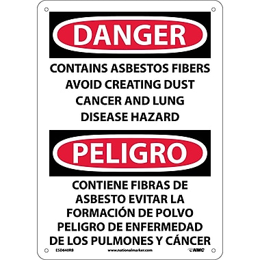 Danger, Contains Asbestos Fibers Avoid Creating Dust Cancer And Lung Disease Hazard Bilingual, 14X10, Rigid Plastic