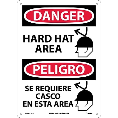 Danger, Hard Hat Area, Graphic, Bilingual, 14X10, .040 Aluminum