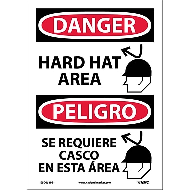 Danger, Hard Hat Area, Graphic, Bilingual, 14X10, Adhesive Vinyl