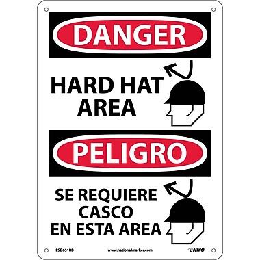 Danger, Hard Hat Area, Graphic, Bilingual 14X10, Rigid Plastic