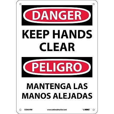 Danger, Keep Hands Clear, Bilingual, 14X10, Rigid Plastic