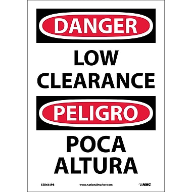 Danger, Low Clearance, Bilingual, 14X10, Adhesive Vinyl