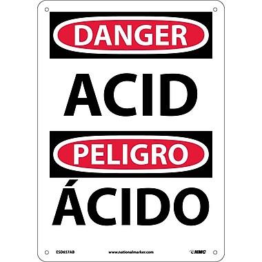 Danger, Acid, Bilingual, 14X10, .040 Aluminum