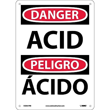 Danger, Acid, Bilingual, 14X10, Rigid Plastic