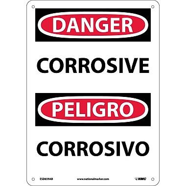 Danger, Corrosive, Bilingual, 14X10, .040 Aluminum