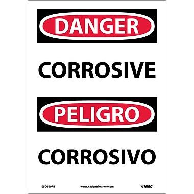 Danger, Corrosive, Bilingual, 14X10, Adhesive Vinyl
