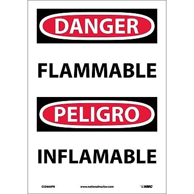 Danger, Flammable, Bilingual, 14X10, Adhesive Vinyl