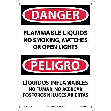 Danger, Flammable Liquids No Smoking, Matches Or Open Lights, Bilingual, 14X10, .040 Aluminum