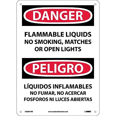 Danger, Flammable Liquids No Smoking, Matches Or Open Lights, Bilingual, 14X10, Rigid Plastic