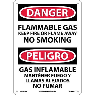 Danger, Flammable Gas Keep Fire Or Flame Away No Smoking, Bilingual, 14 X10, .040 Aluminum