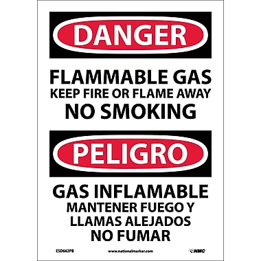 Danger, Flammable Gas Keep Fire Or Flame Away No Smoking, Bilingual, 14X10, Adhesive Vinyl