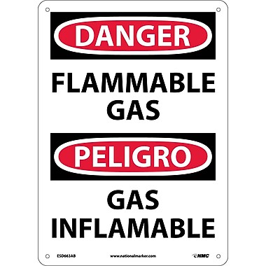 Danger, Flammable Gas, Bilingual, 14X10, .040 Aluminum