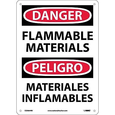 Danger, Flammable Materials, Bilingual, 14X10, Rigid Plastic