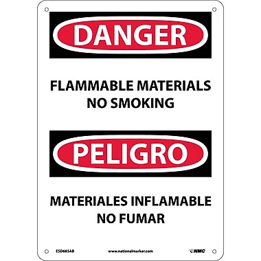 Danger, Flammable Material No Smoking, Bilingual, 14X10, .040 Aluminum