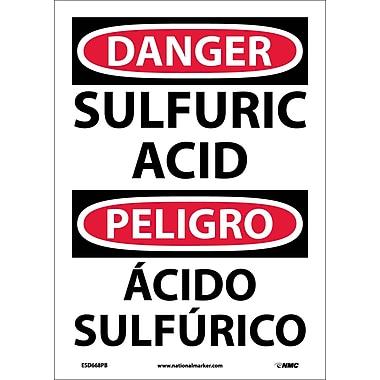 Danger, Sulfuric Acid, Bilingual, 14X10, Adhesive Vinyl