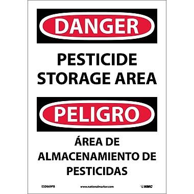 Danger, Pesticide Storage Area, Bilingual, 14X10, Adhesive Vinyl