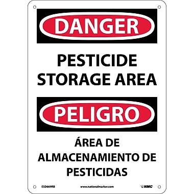 Danger, Pesticide Storage Area, Bilingual, 14X10, Rigid Plastic