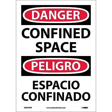 Danger, Confined Space, Bilingual, 14X10, Adhesive Vinyl