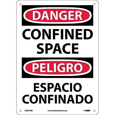 Danger, Confined Space, Bilingual, 14X10, Rigid Plastic