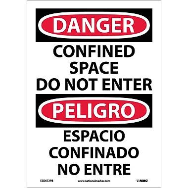Danger, Confined Space Do Not Enter, Bilingual, 14X10, Adhesive Vinyl