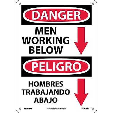 Danger, Men Working Below (Graphic) Bilingual, 14X10, .040 Aluminum